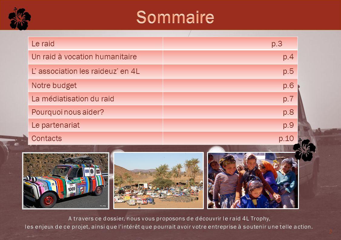 2 Le raid p.3 Un raid à vocation humanitaire p.4 L association les raideuz en 4L p.5 Notre budget p.6 La médiatisation du raid p.7 Pourquoi nous aider
