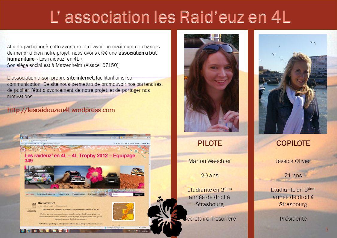 COPILOTE Jessica Olivier 21 ans Etudiante en 3 ème année de droit à Strasbourg Présidente PILOTE Marion Waechter 20 ans Etudiante en 3 ème année de dr