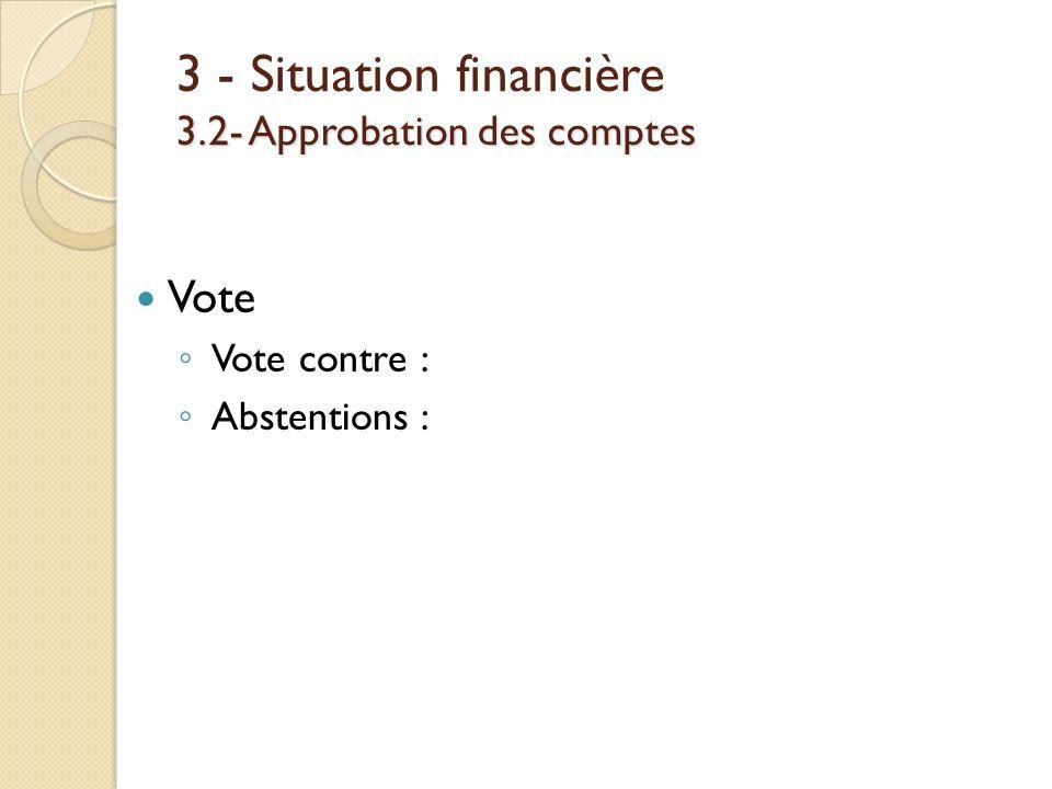 3.2- Approbation des comptes 3 - Situation financière 3.2- Approbation des comptes Vote Vote contre : Abstentions :