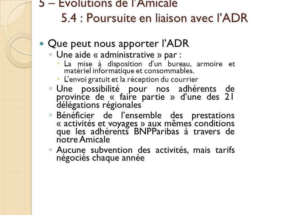 5 – Évolutions de lAmicale 5.4 : Poursuite en liaison avec lADR Que peut nous apporter lADR Une aide « administrative » par : La mise à disposition du