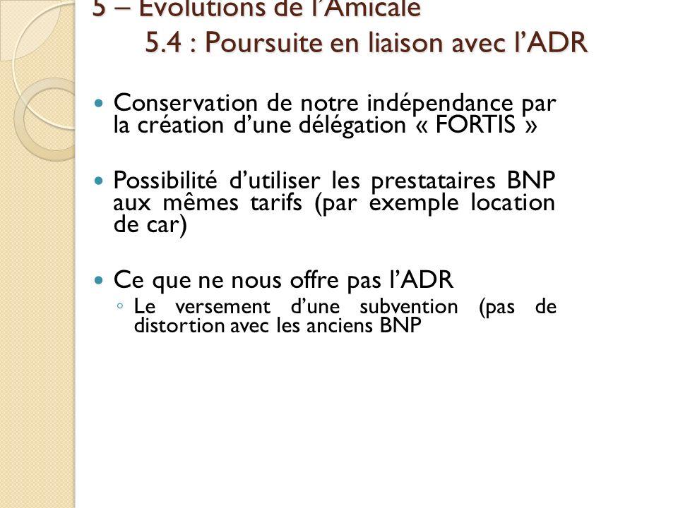 5 – Évolutions de lAmicale 5.4 : Poursuite en liaison avec lADR Conservation de notre indépendance par la création dune délégation « FORTIS » Possibil