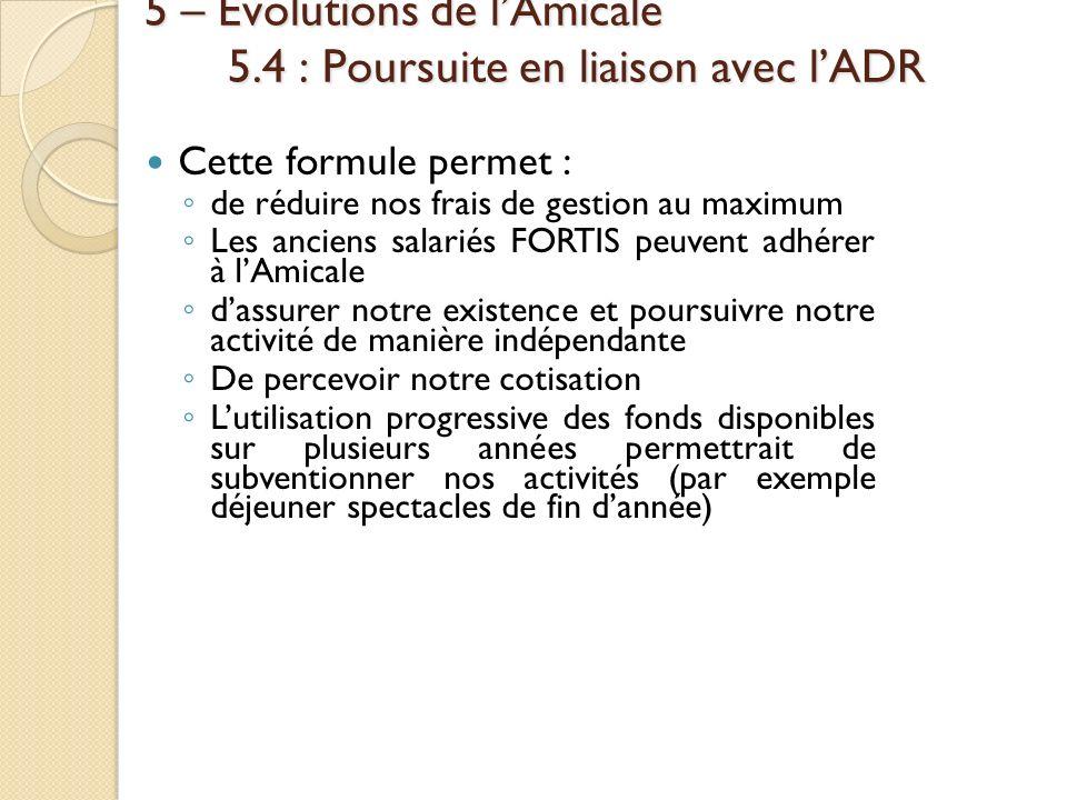 5 – Évolutions de lAmicale 5.4 : Poursuite en liaison avec lADR Cette formule permet : de réduire nos frais de gestion au maximum Les anciens salariés