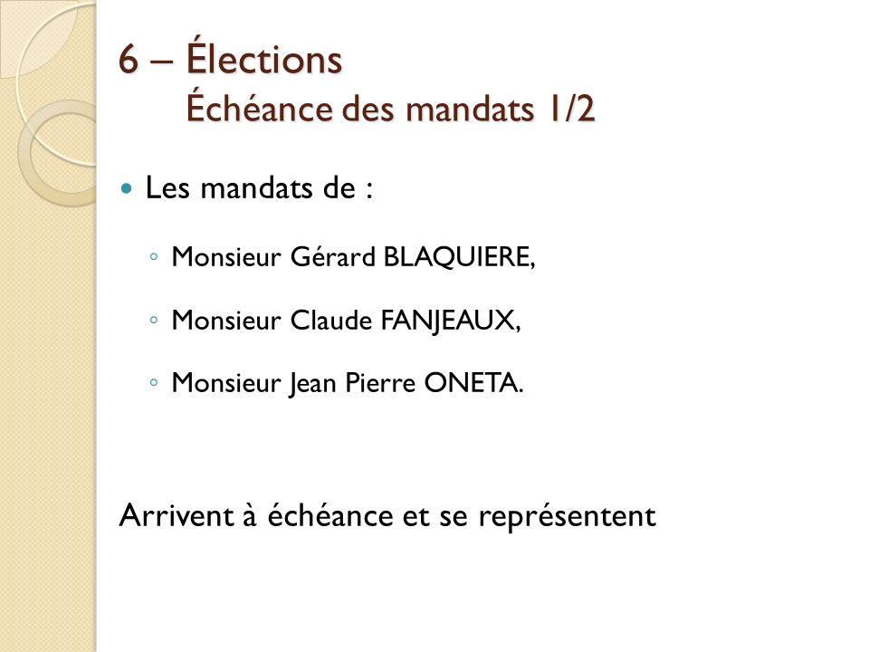 6 – Élections Échéance des mandats 1/2 Les mandats de : Monsieur Gérard BLAQUIERE, Monsieur Claude FANJEAUX, Monsieur Jean Pierre ONETA. Arrivent à éc