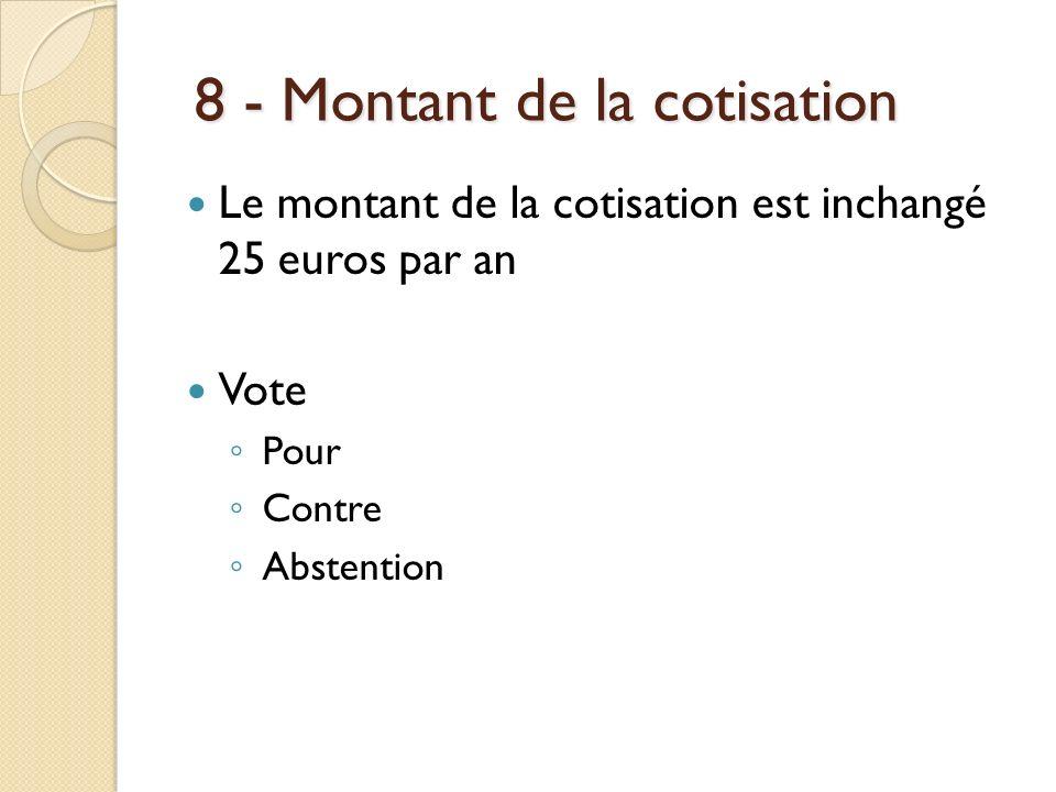 8 - Montant de la cotisation 8 - Montant de la cotisation Le montant de la cotisation est inchangé 25 euros par an Vote Pour Contre Abstention