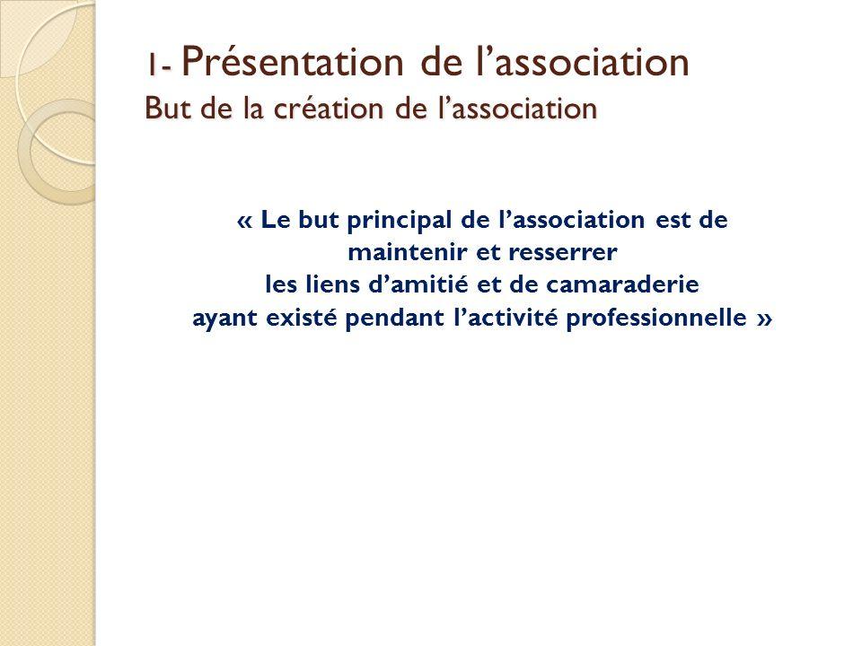 1- But de la création de lassociation 1- Présentation de lassociation But de la création de lassociation « Le but principal de lassociation est de mai