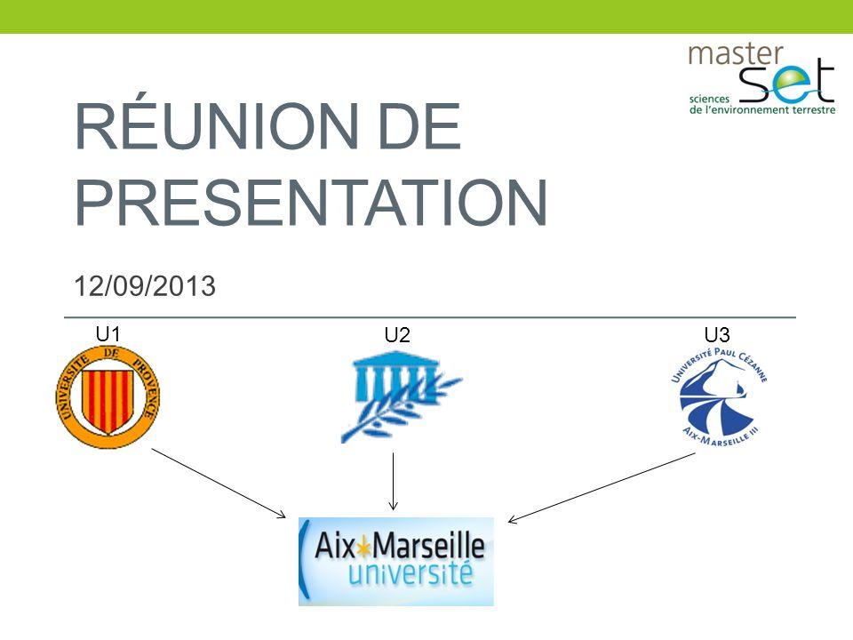 RÉUNION DE PRESENTATION 12/09/2013 U1 U2U3