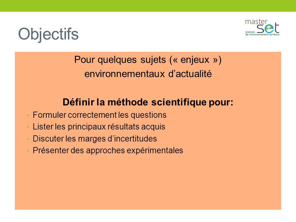 Objectifs Pour quelques sujets (« enjeux ») environnementaux dactualité Définir la méthode scientifique pour: Formuler correctement les questions List