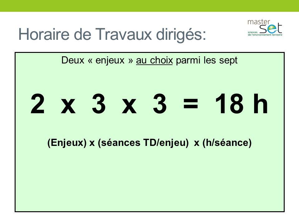 Horaire de Travaux dirigés: Deux « enjeux » au choix parmi les sept 2 x 3 x 3 = 18 h (Enjeux) x (séances TD/enjeu) x (h/séance)