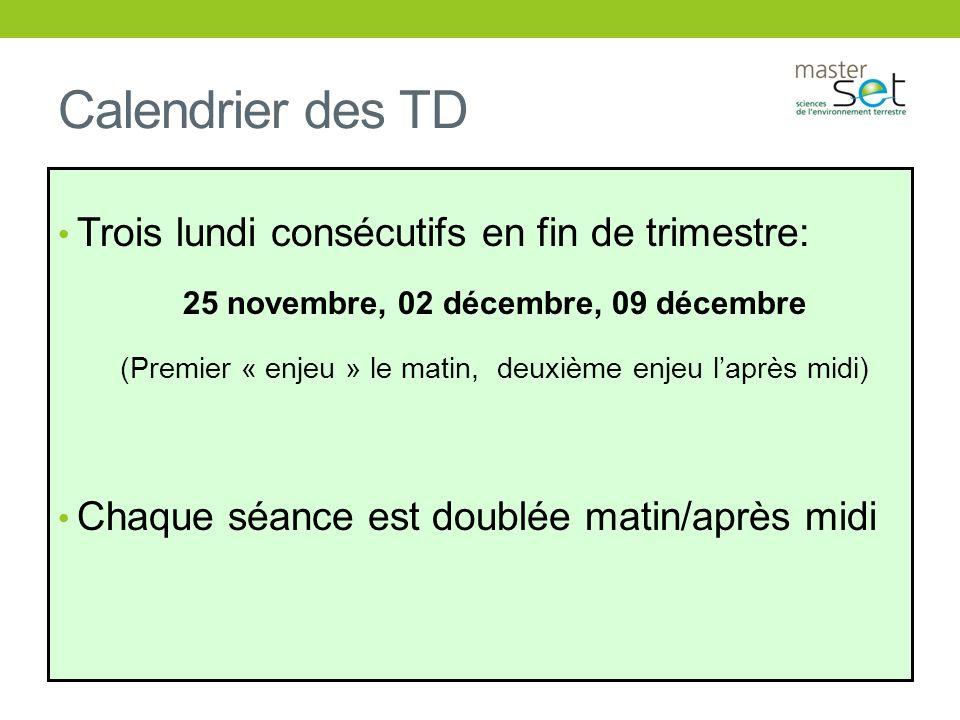 Calendrier des TD Trois lundi consécutifs en fin de trimestre: 25 novembre, 02 décembre, 09 décembre (Premier « enjeu » le matin, deuxième enjeu laprè
