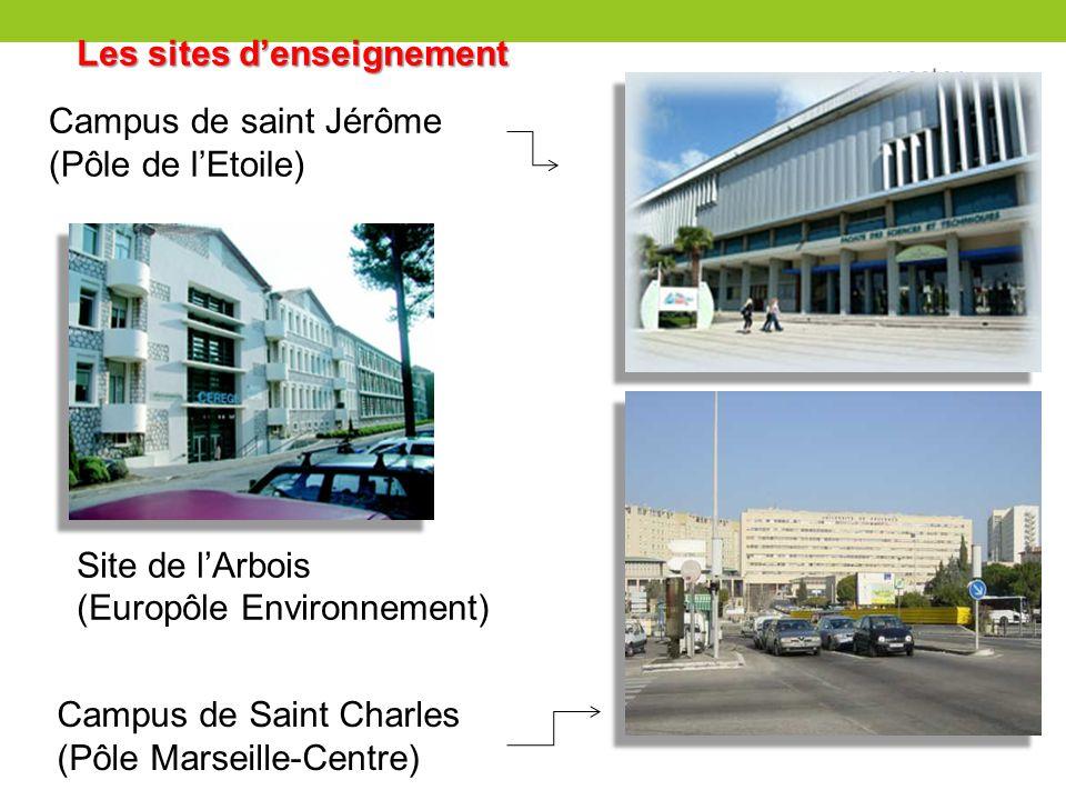 Les sites denseignement Site de lArbois (Europôle Environnement) Campus de Saint Charles (Pôle Marseille-Centre) Campus de saint Jérôme (Pôle de lEtoi
