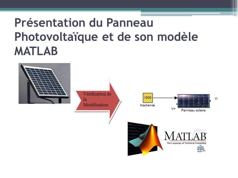 Présentation du Panneau Photovoltaïque et de son modèle MATLAB