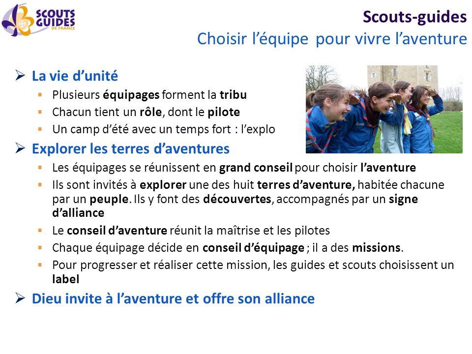 Scouts-guides La vie dunité Plusieurs équipages forment la tribu Chacun tient un rôle, dont le pilote Un camp dété avec un temps fort : lexplo Explore