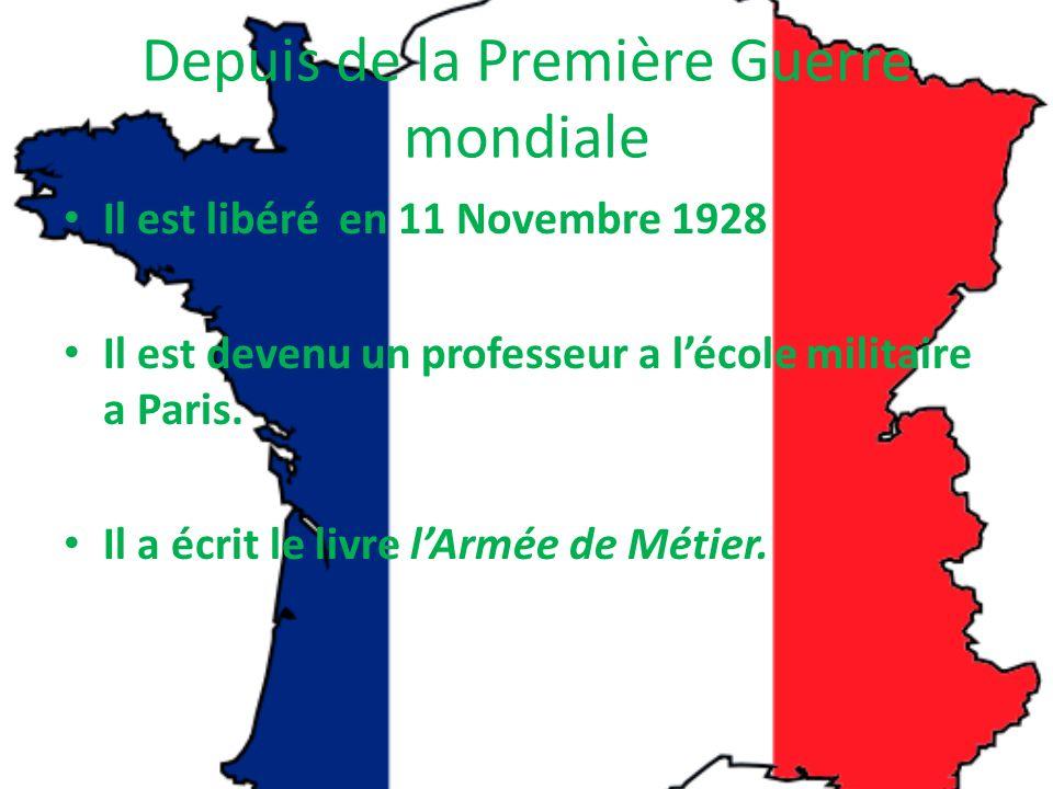 Depuis de la Première Guerre mondiale Il est libéré en 11 Novembre 1928 Il est devenu un professeur a lécole militaire a Paris.