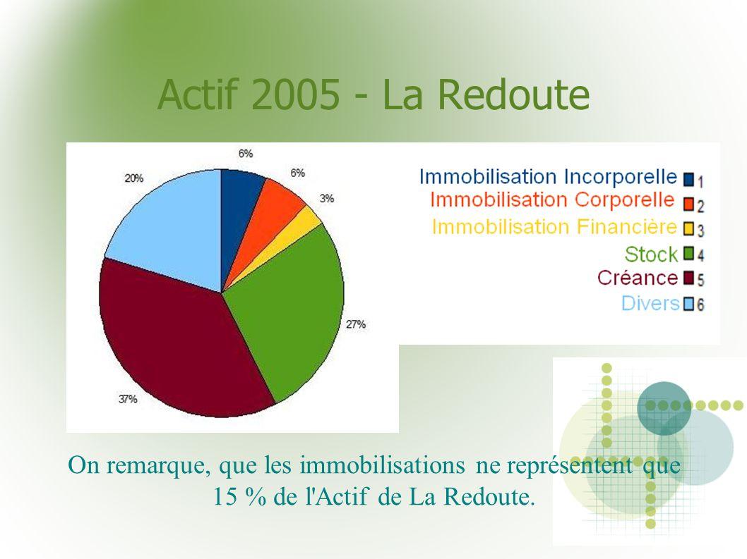 Actif 2005 - La Redoute On remarque, que les immobilisations ne représentent que 15 % de l'Actif de La Redoute.