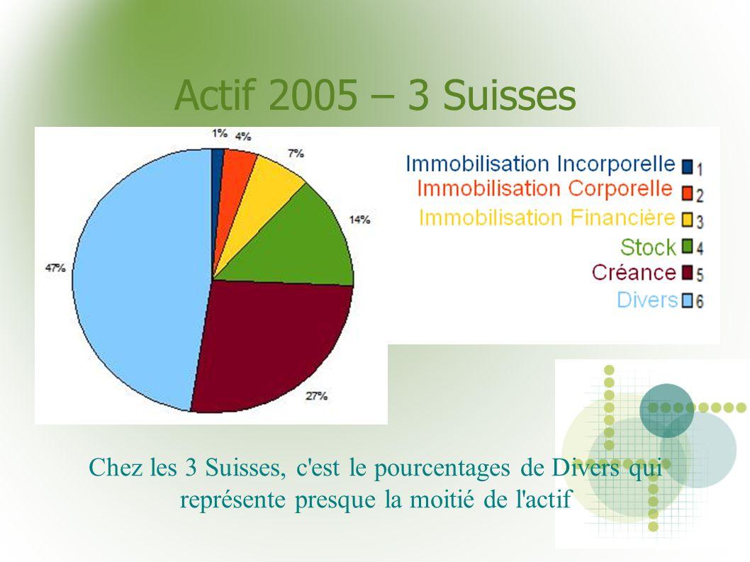 Actif 2005 – 3 Suisses Chez les 3 Suisses, c'est le pourcentages de Divers qui représente presque la moitié de l'actif