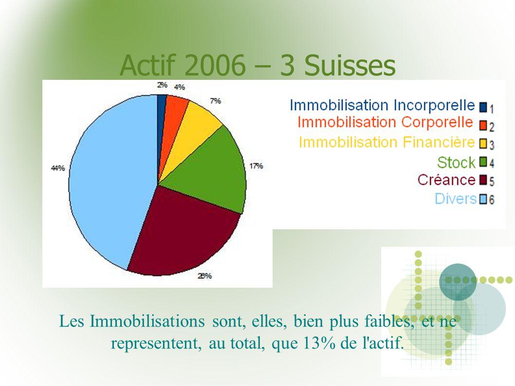 Actif 2006 – 3 Suisses Les Immobilisations sont, elles, bien plus faibles, et ne representent, au total, que 13% de l'actif.