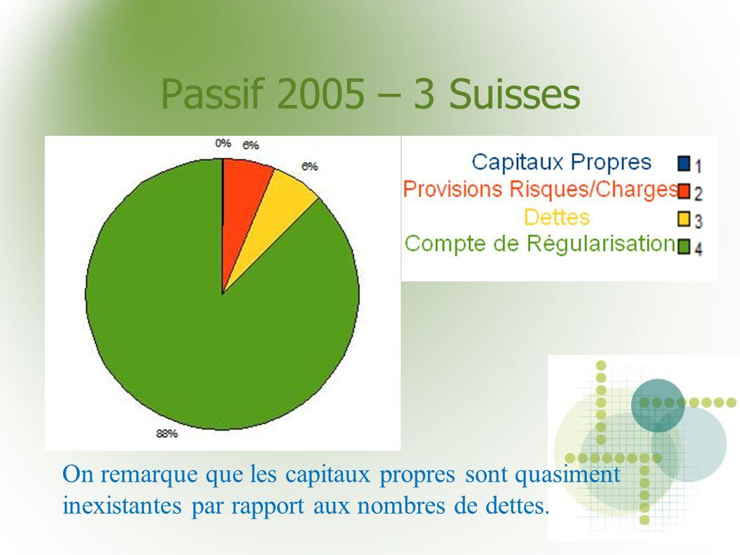 Passif 2005 – 3 Suisses On remarque que les capitaux propres sont quasiment inexistantes par rapport aux nombres de dettes.
