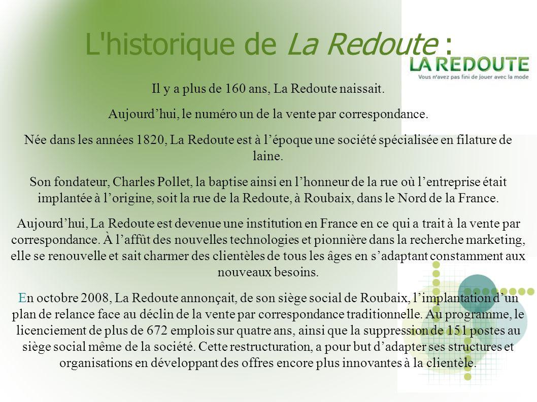 L'historique de La Redoute : Il y a plus de 160 ans, La Redoute naissait. Aujourdhui, le numéro un de la vente par correspondance. Née dans les années