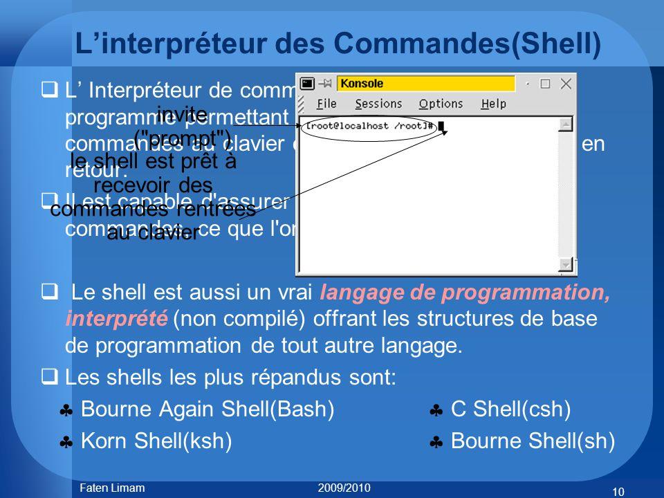 Linterpréteur des Commandes(Shell) L Interpréteur de commande, ou shell, est un programme permettant à lutilisateur dentrer des commandes au clavier e