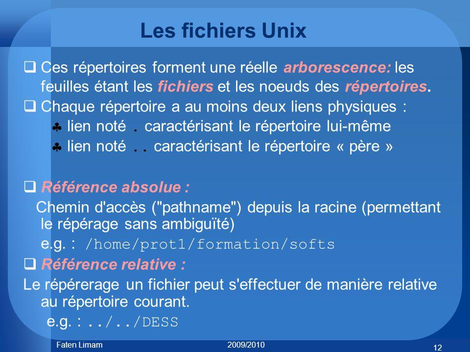 Les fichiers Unix Ces répertoires forment une réelle arborescence: les feuilles étant les fichiers et les noeuds des répertoires. Chaque répertoire a