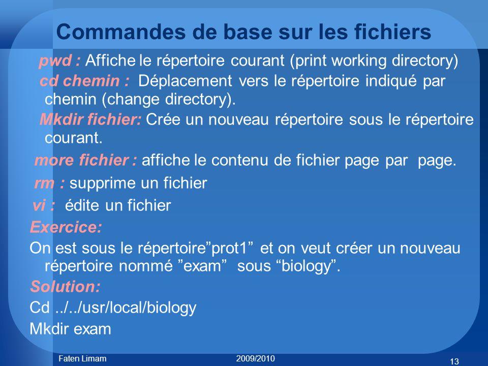 Commandes de base sur les fichiers pwd : Affiche le répertoire courant (print working directory) cd chemin : Déplacement vers le répertoire indiqué pa