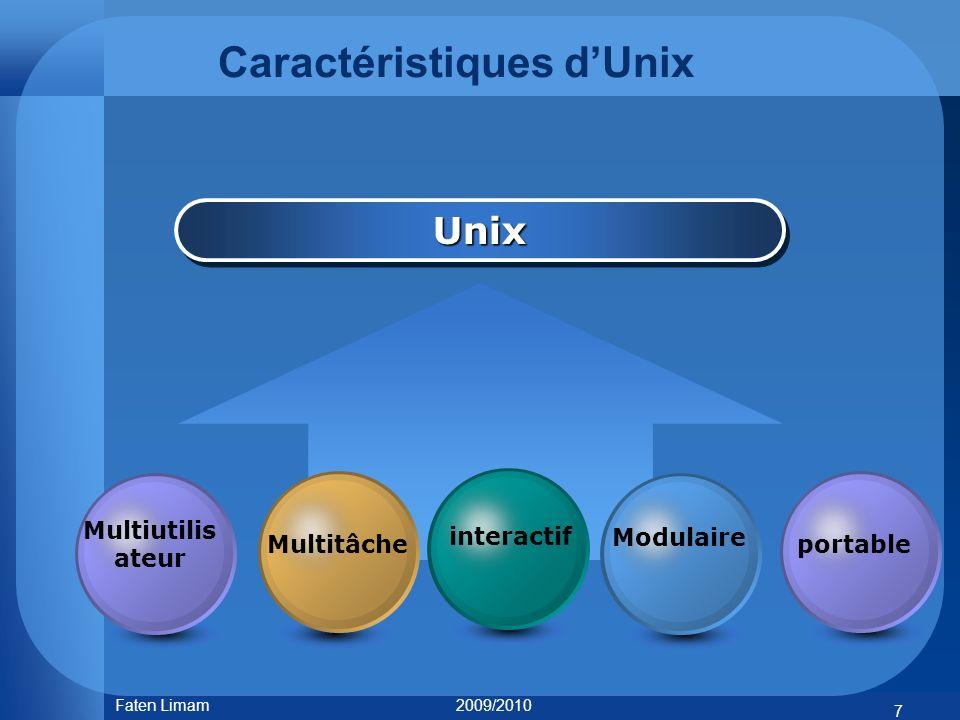 Caractéristiques dUnix UnixUnix portable 7 Faten Limam 2009/2010 Multiutilis ateur Multitâche interactifModulaire