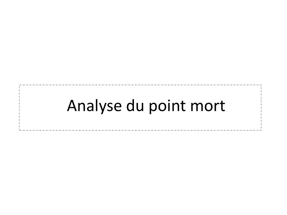 Analyse du point mort