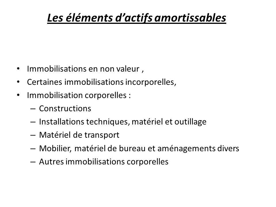 Les éléments dactifs amortissables Immobilisations en non valeur, Certaines immobilisations incorporelles, Immobilisation corporelles : – Construction