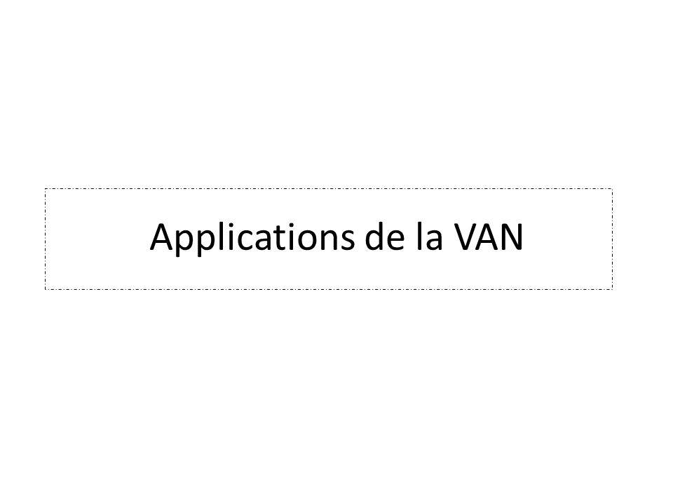 Applications de la VAN