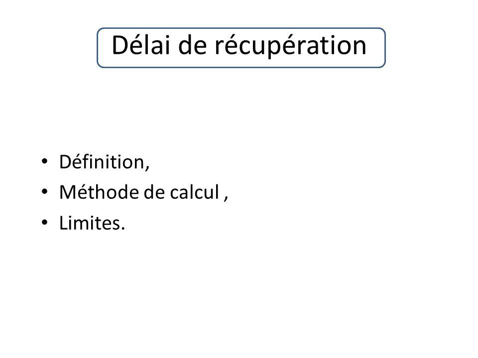 Délai de récupération Définition, Méthode de calcul, Limites.