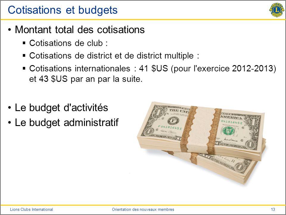 13Lions Clubs InternationalOrientation des nouveaux membres Cotisations et budgets Montant total des cotisations Cotisations de club : Cotisations de