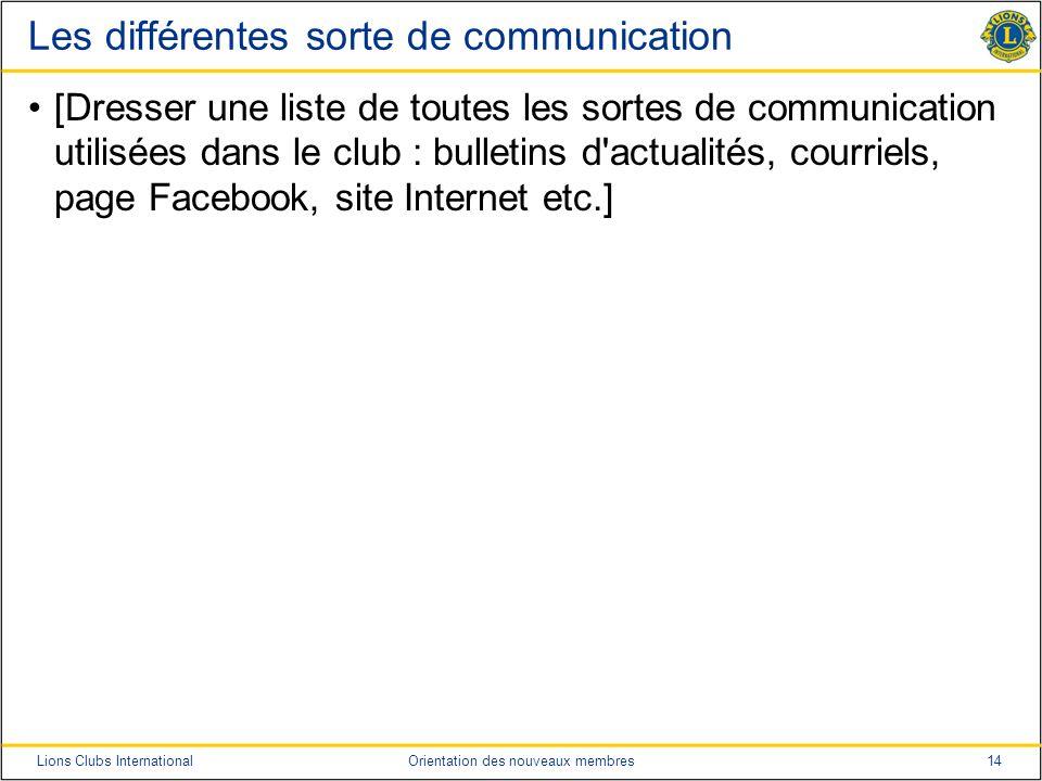 14Lions Clubs InternationalOrientation des nouveaux membres Les différentes sorte de communication [Dresser une liste de toutes les sortes de communic