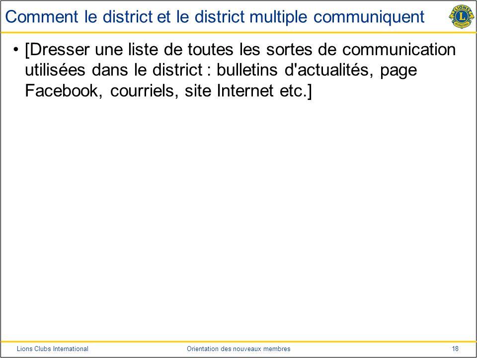 18Lions Clubs InternationalOrientation des nouveaux membres Comment le district et le district multiple communiquent [Dresser une liste de toutes les