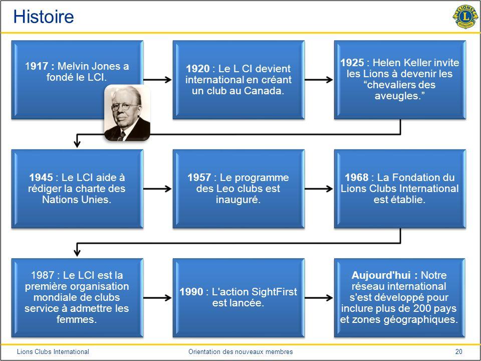 20Lions Clubs InternationalOrientation des nouveaux membres Histoire 1917 : Melvin Jones a fondé le LCI. 1920 : Le L CI devient international en créan