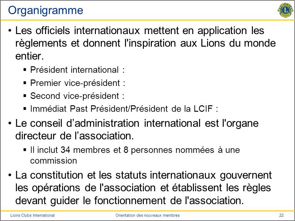 22Lions Clubs InternationalOrientation des nouveaux membres Organigramme Les officiels internationaux mettent en application les règlements et donnent