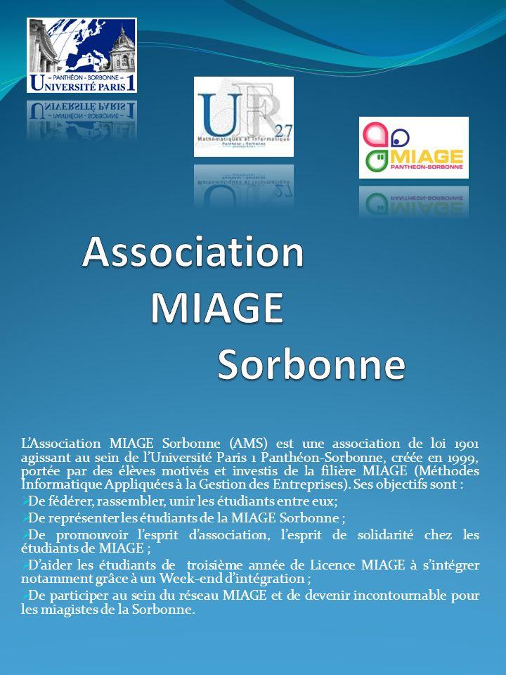 LAssociation MIAGE Sorbonne (AMS) est une association de loi 1901 agissant au sein de lUniversité Paris 1 Panthéon-Sorbonne, créée en 1999, portée par