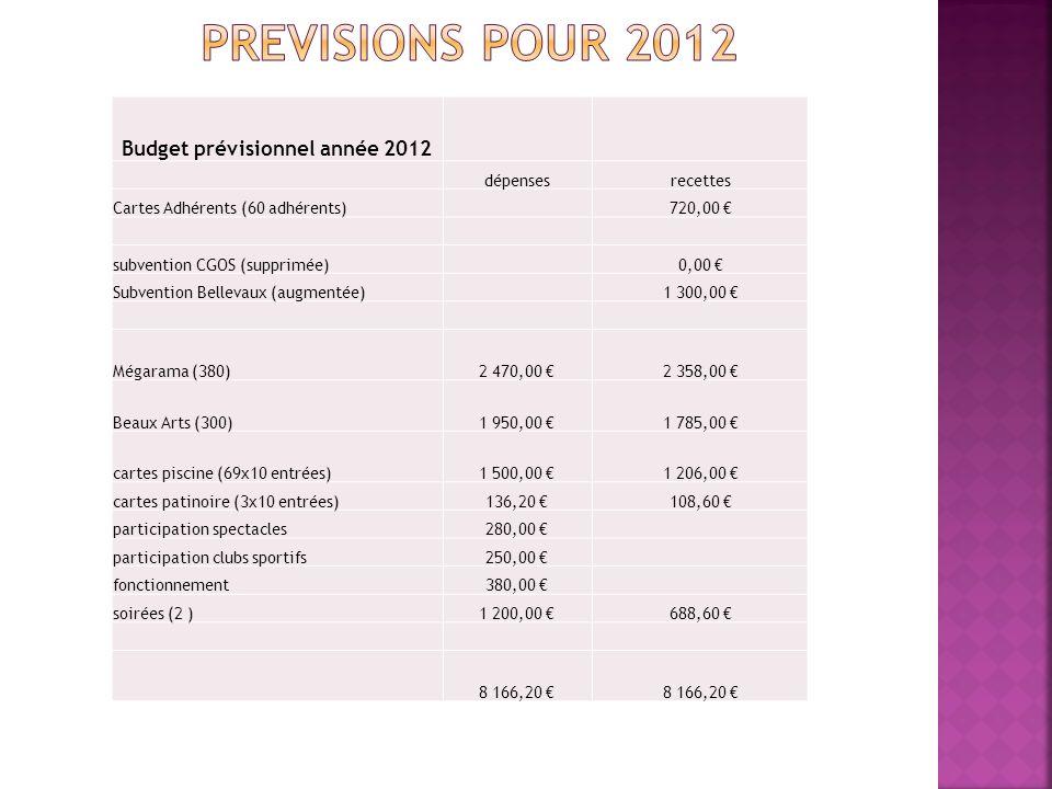 Budget prévisionnel année 2012 dépensesrecettes Cartes Adhérents (60 adhérents) 720,00 subvention CGOS (supprimée) 0,00 Subvention Bellevaux (augmentée) 1 300,00 Mégarama (380)2 470,00 2 358,00 Beaux Arts (300)1 950,00 1 785,00 cartes piscine (69x10 entrées)1 500,00 1 206,00 cartes patinoire (3x10 entrées)136,20 108,60 participation spectacles280,00 participation clubs sportifs250,00 fonctionnement380,00 soirées (2 )1 200,00 688,60 8 166,20