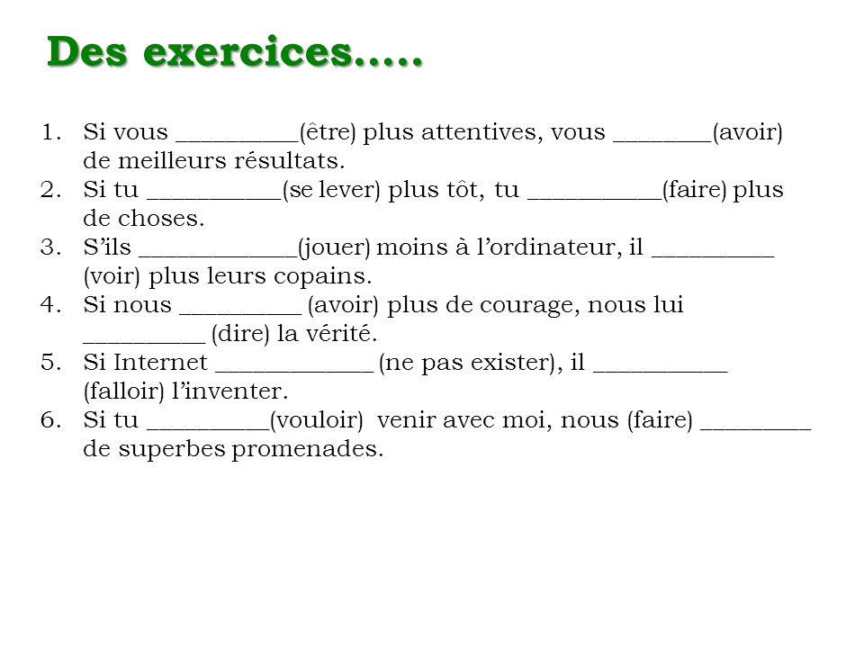 Des exercices….. 1.Si vous __________(être) plus attentives, vous ________(avoir) de meilleurs résultats. 2.Si tu ___________(se lever) plus tôt, tu _