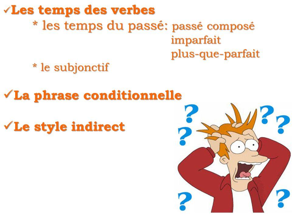 Les temps des verbes Les temps des verbes * les temps du passé: passé composé imparfait imparfait plus-que-parfait plus-que-parfait * le subjonctif La