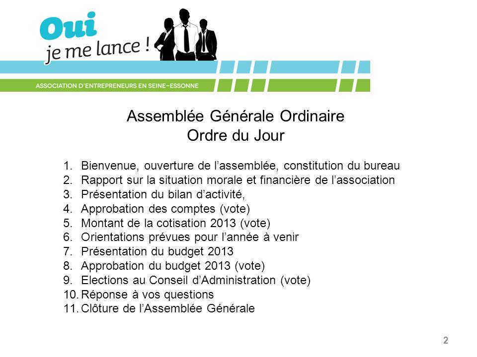 3 AG 2013 « Oui Je Me Lance .» 2.3. Rapport dactivité OJML .