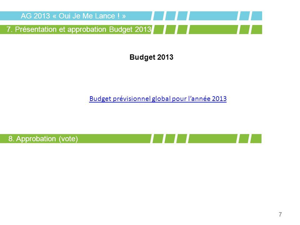 7 Budget 2013 AG 2013 « Oui Je Me Lance ! » 7. Présentation et approbation Budget 2013 Budget prévisionnel global pour lannée 2013 8. Approbation (vot