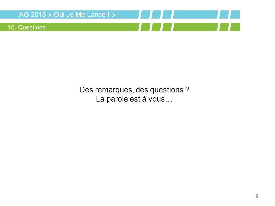 9 AG 2013 « Oui Je Me Lance ! » 10. Questions Des remarques, des questions ? La parole est à vous…