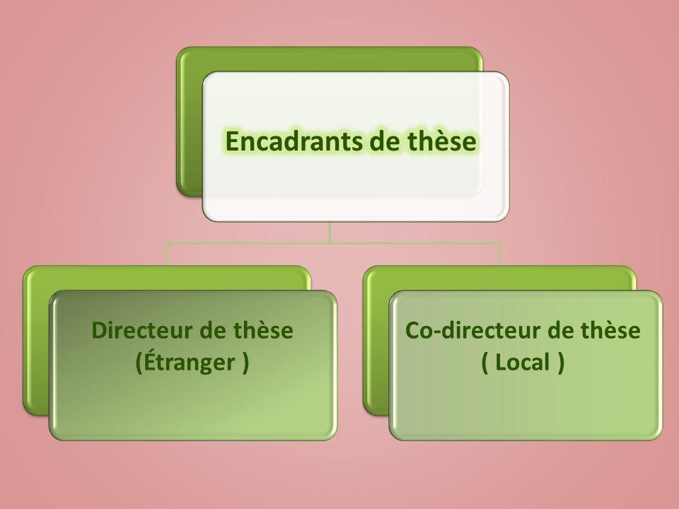 Directeur de thèse (Étranger ) Co-directeur de thèse ( Local )