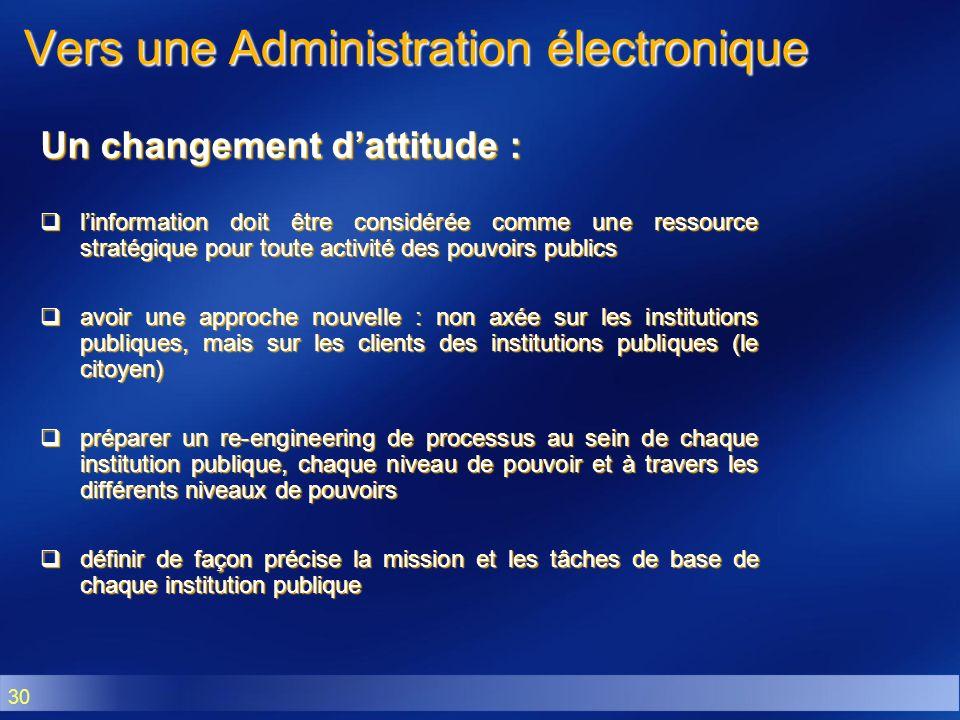 30 Vers une Administration électronique Un changement dattitude : linformation doit être considérée comme une ressource stratégique pour toute activit