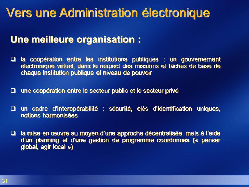 31 Vers une Administration électronique Une meilleure organisation : la coopération entre les institutions publiques : un gouvernement électronique vi