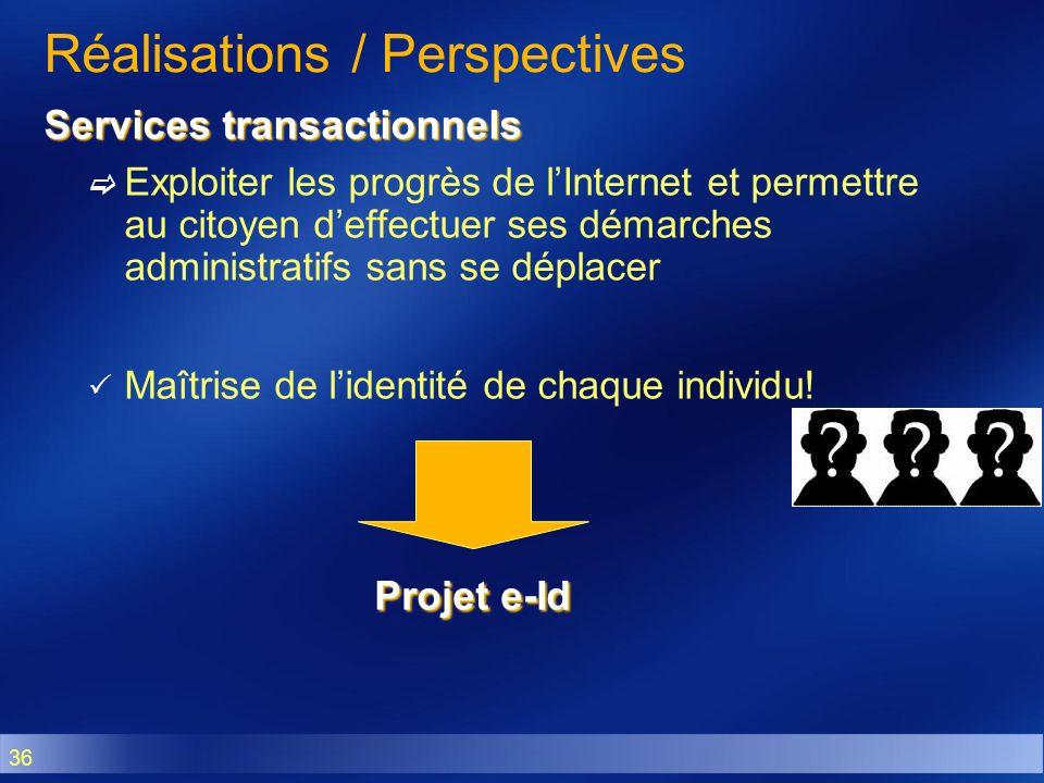 36 Réalisations / Perspectives Services transactionnels Exploiter les progrès de lInternet et permettre au citoyen deffectuer ses démarches administra