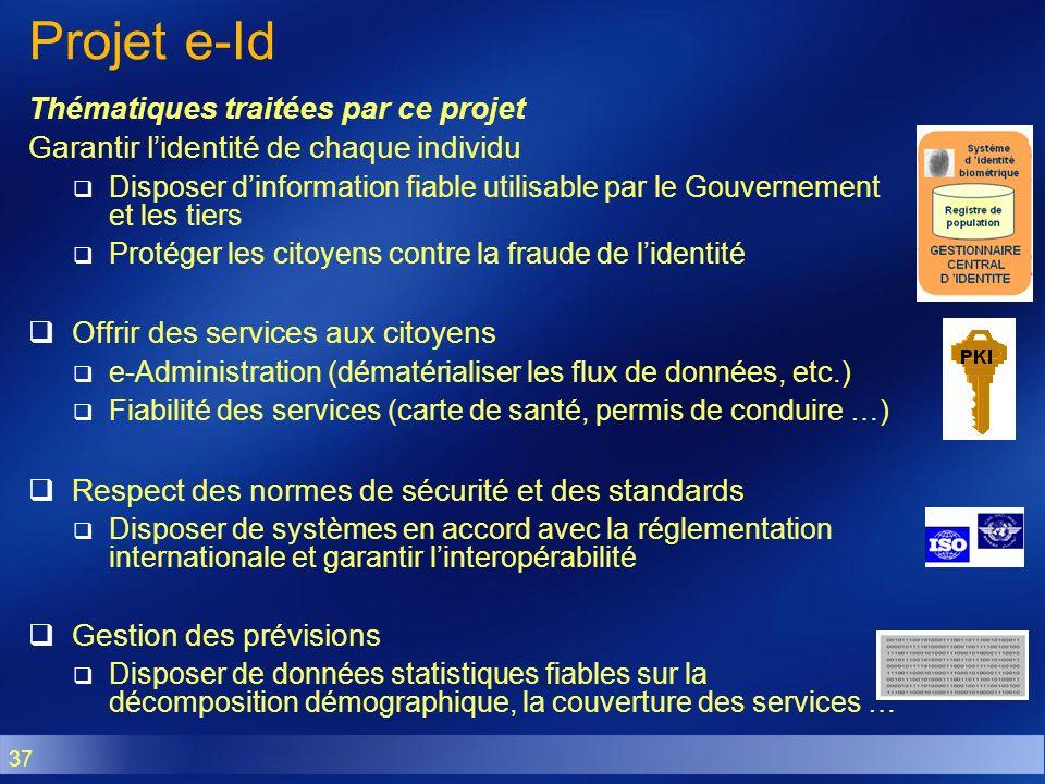 37 Projet e-Id Thématiques traitées par ce projet Garantir lidentité de chaque individu Disposer dinformation fiable utilisable par le Gouvernement et