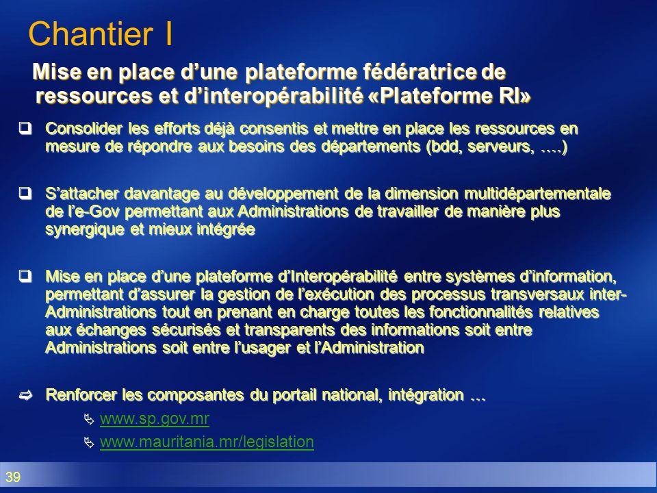 39 Mise en place dune plateforme fédératrice de ressources et dinteropérabilité «Plateforme RI» Mise en place dune plateforme fédératrice de ressource