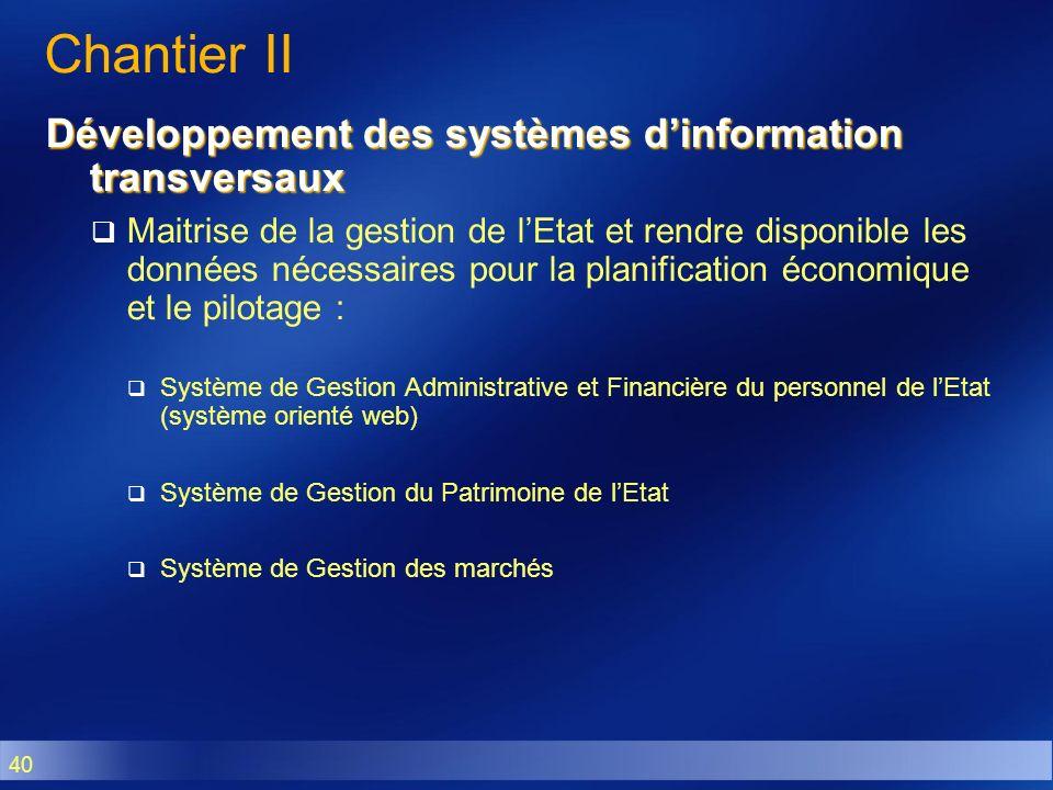 40 Chantier II Développement des systèmes dinformation transversaux Maitrise de la gestion de lEtat et rendre disponible les données nécessaires pour