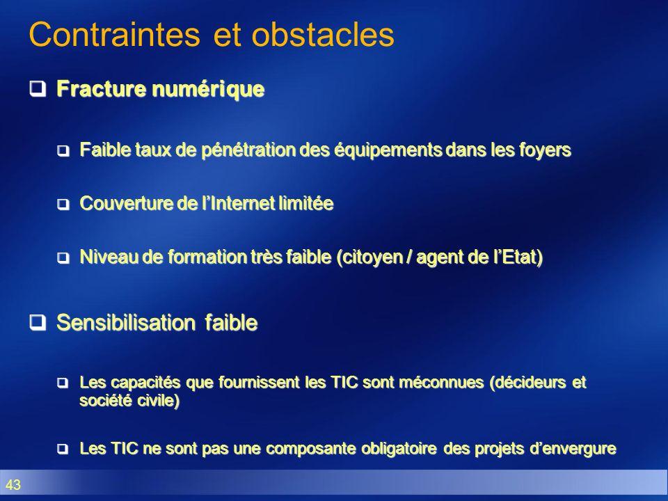 43 Contraintes et obstacles Fracture numérique Fracture numérique Faible taux de pénétration des équipements dans les foyers Faible taux de pénétratio